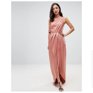 Asos Hammered Satin one Shoulder Maxi Dress ❤